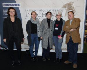 Lancement Bibliothèque Mondiale du Cheval 27 novembre 2018, Salon du cheval - Laurence Meunier, Clotilde Eudier, Malika Cherrier, Marie-Laure Peretti, Xavier Libbrecht. Ph. Claude Bigeon.