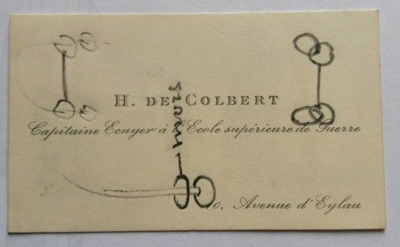 Carte de visite Henri de Colbert